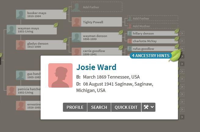 Josie Screenshot with Death Date